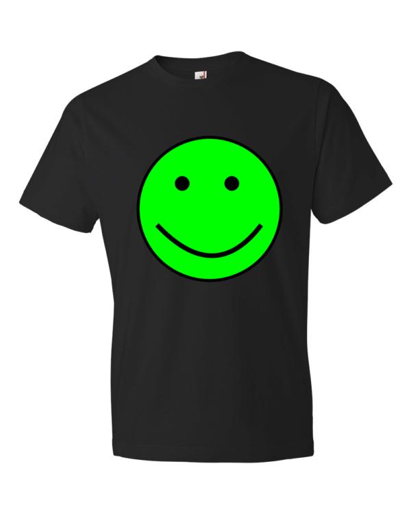 Green-Smiley-Lightweight-Fashion-Short-Sleeve-T-Shirt-by-iTEE.com